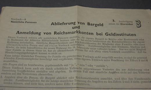 Anmeldung von Reichsmarkkonten, Vordruck/Formular 1948