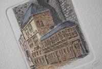 Aachen, Postwagen, Radierung