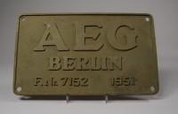 AEG, Typenschild Elektrolokomotive F.Nr. 7152