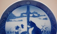 Royal Copenhagen, wall plate Christmas Rose and Cat 1970