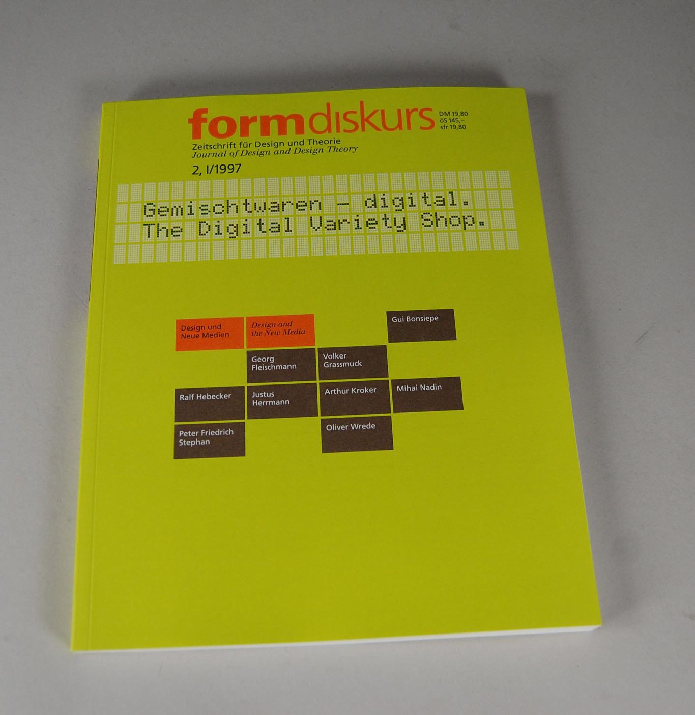 Form diskurs zeitschrift f r design und theorie band 2 for Architektur und design zeitschrift